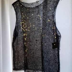 MOHAIR Knitted Top w/ Clear Sequins